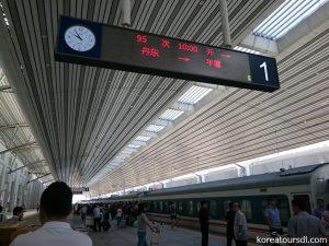 丹東駅から国際列車で平壌駅へ