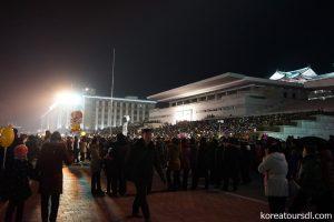 新年を迎える金日成広場